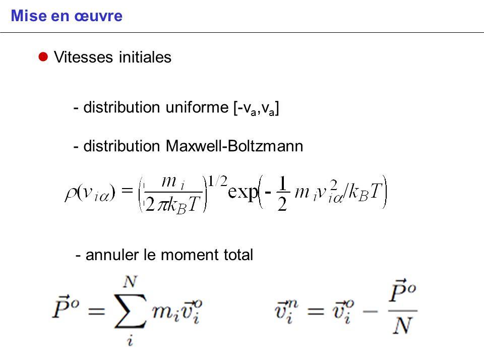 Mise en œuvre Vitesses initiales. - distribution uniforme [-va,va] - distribution Maxwell-Boltzmann.